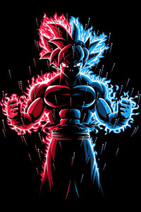 God Red Blue Goku Dragon Ball Z