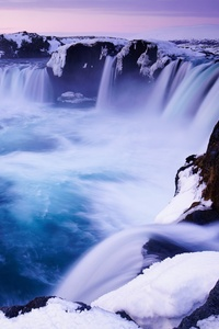 1080x2280 Godafoss Falls Waterfall Snow