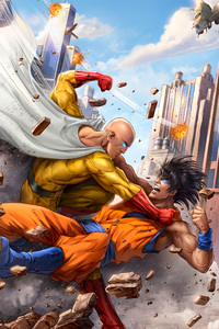 640x1136 Goku And One Punch Man 5k Art