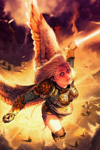 1080x2160 Gold Angel Fantasy Girl With Wings 4k