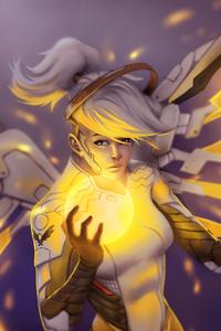 1125x2436 Gold Mercy Overwatch Fanart 5k