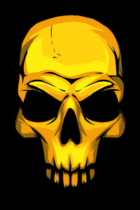 1080x2280 Gold Skull Dark Background 4k