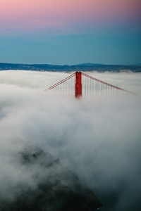 Golden Gate Bridge Fogs Mountains 5k