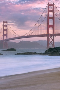 1080x2160 Golden Gate Viewed From Beach