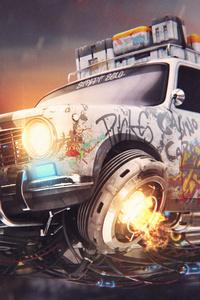 Graffiti Cyberpunk Car 4k