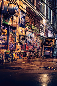 Graffiti Wall Night 4k