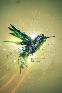 640x1136 Green Bird Art