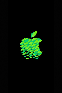 Green Black Apple Logo 4k