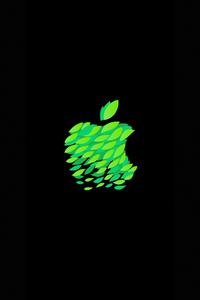 1080x2160 Green Black Apple Logo 4k