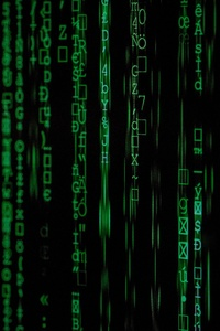 Green Code Lines Black Background 5k