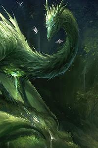 Green Crystal Dragon 4k