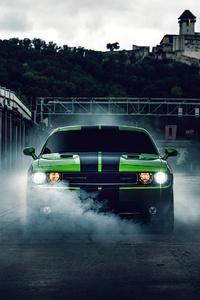 480x800 Green Dodge Challenger 4k 2020