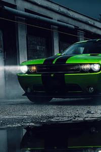 240x320 Green Dodge Challenger 4k