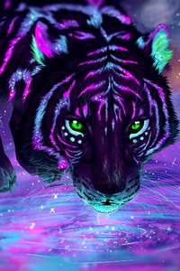 Green Eyes Night Reflection Tiger Artwork