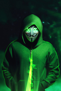 Green Hoodie Anonymus Mask 4k