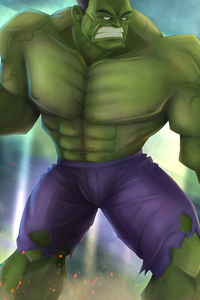 1242x2688 Green Hulk Artwork