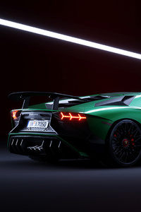 Green Lamborghini Aventador Cgi