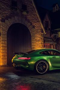 Green Mercedes AMG GT R Rear 4k