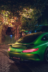 Green Mercedes AMG GT R Rear