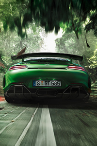 Green Mercedes Benz AMG GT R 2018 Rear
