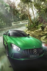 Green Mercedes Benz AMG GT R