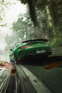 Green Mercedes Benz AMG GT R Rear