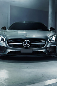 Grey Mercedes Benz Amg GT 4k Front