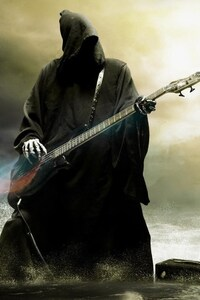 750x1334 Grim Reaper Playing Guitar