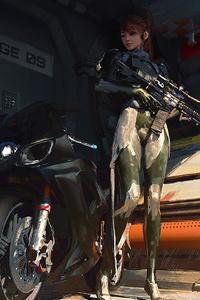 750x1334 Gun Science Fiction Biker Girl