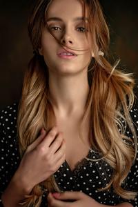 Hairs In Face Girl Portrait Black Dress 4k