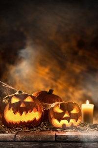 Halloween Candle And Pumpkins