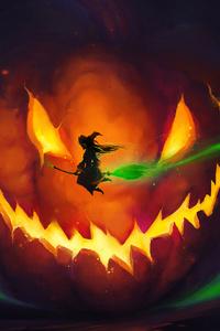 1440x2960 Halloween Witch 4k