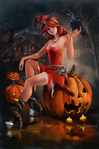 640x960 Halloween Witch Artwork