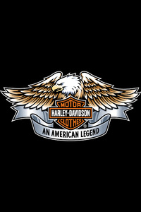 800x1280 Harley Davidson Eagle Logo 4k