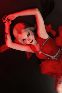 1440x2560 Harley Quinn Red Dress Suicide Squad Cosplay 5k