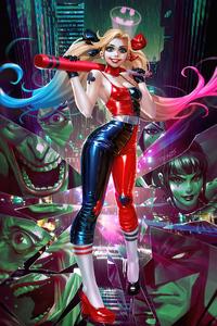 Harley Quinn With Baseball Comic Art 4k