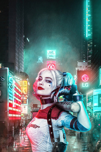 750x1334 Harley Quinn With Baseball In City 4k