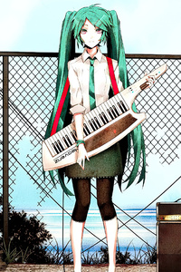 Hatsune Miku Cyan Hair Standing With Guitar 4k