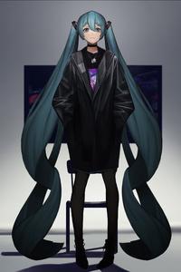 Hatsune Miku Long Pontytail 4k