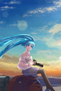 1440x2960 Hatsune Miku Vocaloid Long Hairs Taking Nature Pics 4k