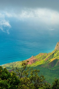 1080x2280 Hawaii Kauai Pacific Ocean Clouds Mountains 4k