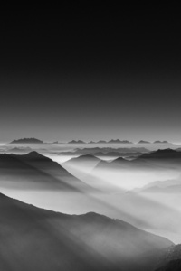 750x1334 Haze Mountain Landscape Monochrome 5k