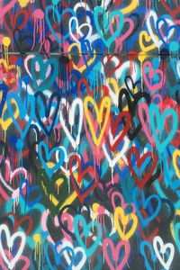 1125x2436 Heart Painted Wall 4k