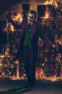 720x1280 Heath Ledger Joker Cosplay Burning Buildings 4k