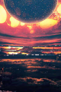Heatwave Citylights Dark Heat Scifi Sky Space