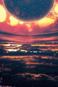 240x320 Heatwave Citylights Dark Heat Scifi Sky Space