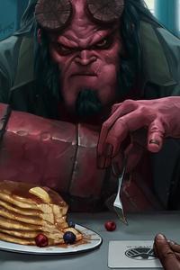 Hellboy Eating