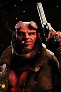 Hellboy Smoking Cigarette With Gun