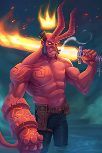 Hellboy With Burning Sword