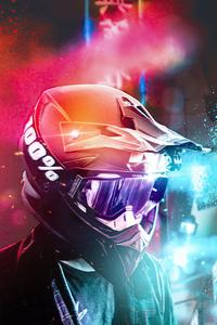 1280x2120 Helmet Motorbiker 4k